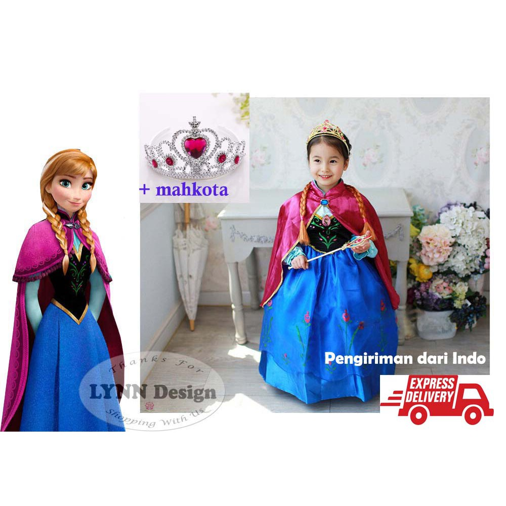 DRESS FROZEN PINK SAYAP Baju Anak Import Branded Gaun Pesta Anna Elsa  3005d62db1