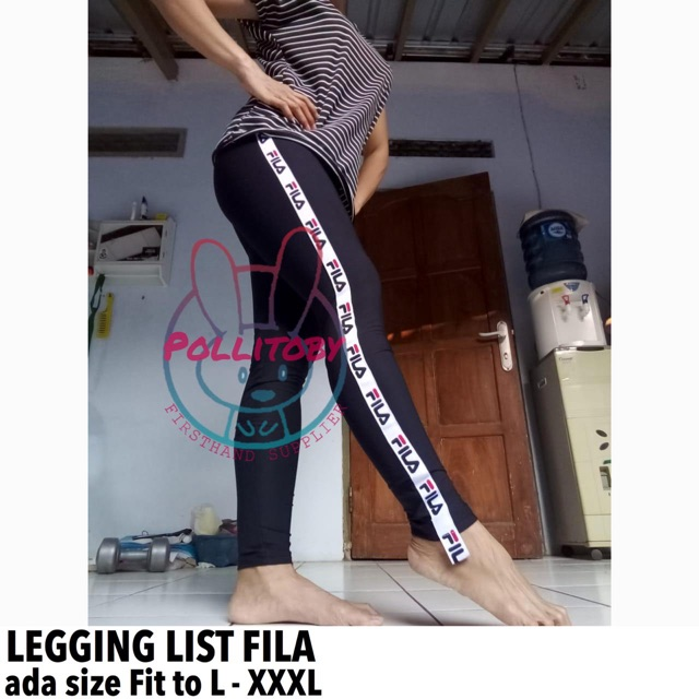 Celana Legging List Fila Premium Quality List Kiri Kanan Kekinian Banget Shopee Indonesia