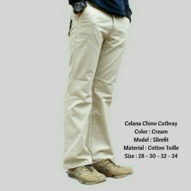 Best seller Celana Chino panjang Pria Bahan Scot Denim Pinsil Warna Hitam Abu Cream dan Mocca Besttt | Shopee Indonesia