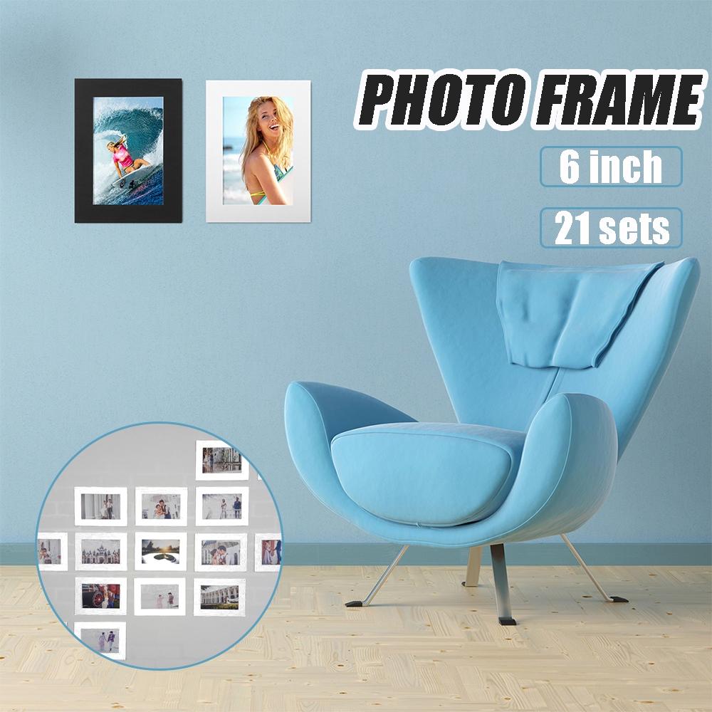 """21 Set Bingkai Foto Dinding Kreatif DIY 6 """"Warna Hitam Putih"""