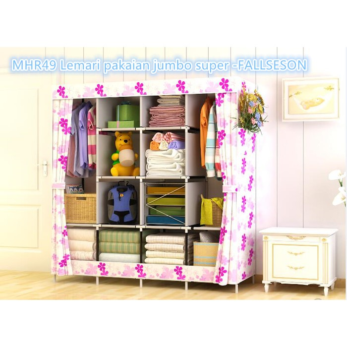 [Terlaris] - lemari pakaian rak buku portable motif kayu design dekorasi fiber | Shopee Indonesia