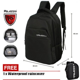 ... Palazzo Tas Ransel Pria Laptop 18 Inchi 300220 Material Nylon Waterproof - Black + Raincover. suka: 12