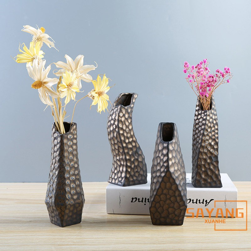 Japanese Zen Flower Ware Hand Made Coarse Pottery Rust Ceramic Tea Table Hydroponic Flower Vase Home Decoration Shopee Indonesia