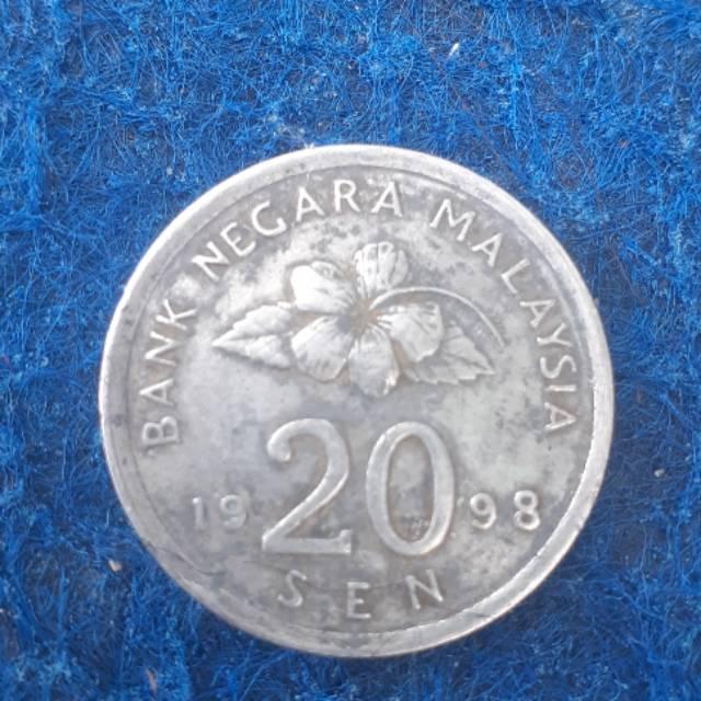 Uang koin 20 Sen Malaysia tahun 1998