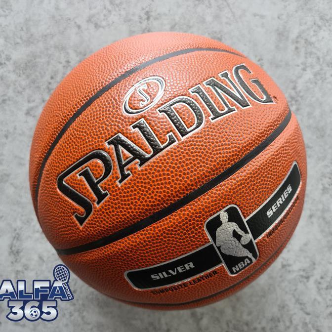 Ready stock bola basket outdoor❥ Bola Basket Spalding NBA Silver - Official Indoor Outdoor