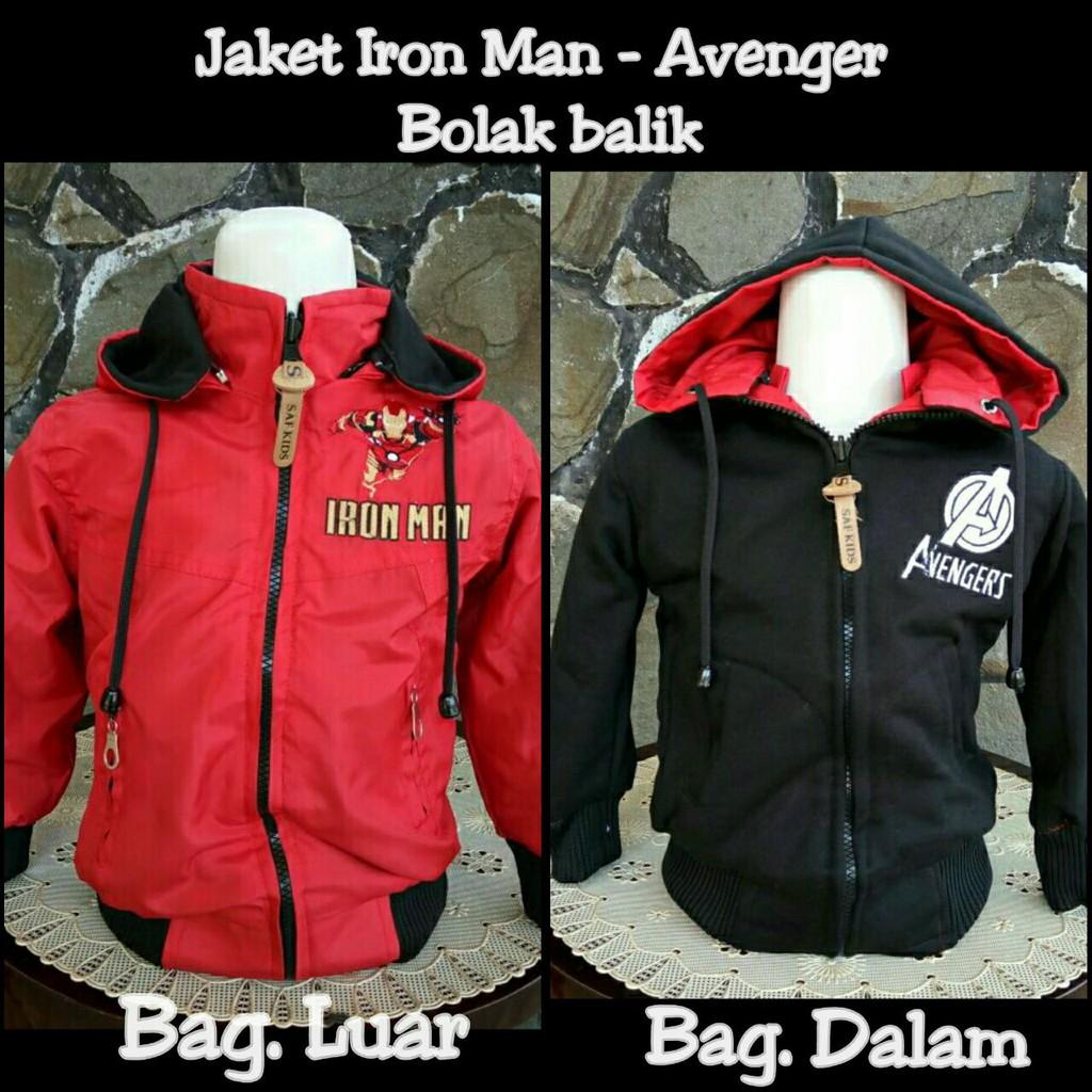 Fashion Jaket Anak Superhero Iron Man Captain America Spiderman Galant Bolak Balik Dua Warna Thor Dkk 2 3 Tahun Model Shopee Indonesia