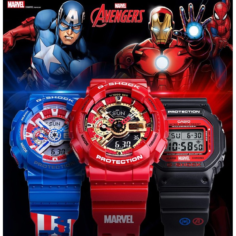 Cod Casio Gshock Ga110 Avengers Marvels Iron Man Captain America Men Women Watch Wrist Watches Shopee Indonesia