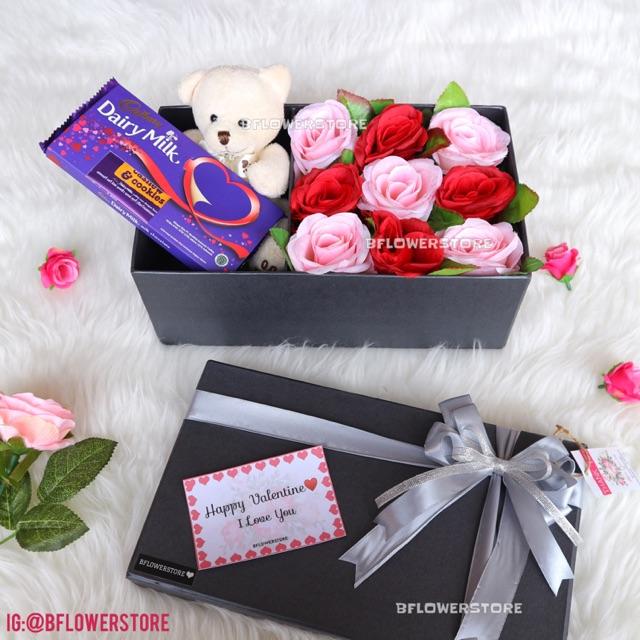 Flowers Box Artificial Boneka Coklat Cadbury Shopee Indonesia