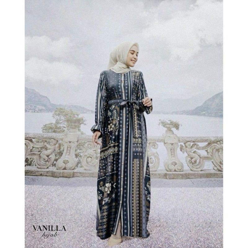 BINAR DRESS NAVY&ROSE (COUPLEAN BW)VANILLA HIJAB