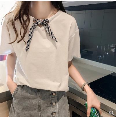 Gaun musim panas dengan dasi kupu-kupu leher bulat t-shirt wanita kemeja lengan pendek t-shirt