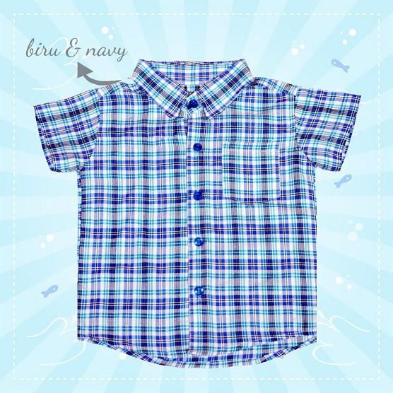 Kemeja Anak 2-3 Thn - Kemeja Anak Cowok Navy - Baju Anak Cowok - Kemeja Anak Laki Lengan Pendek Navy | Shopee Indonesia