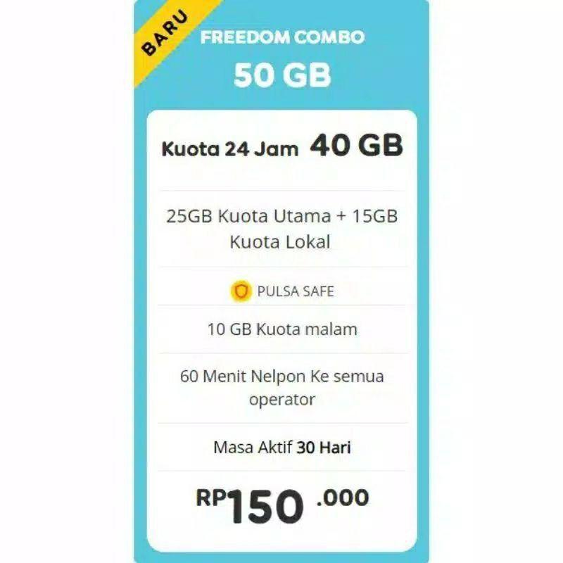 PROMO KUOTA INDOSAT / IM3 GIFT PAKET DATA INTERNET!! FREEDOM COMBO 50GB + 60 MENIT