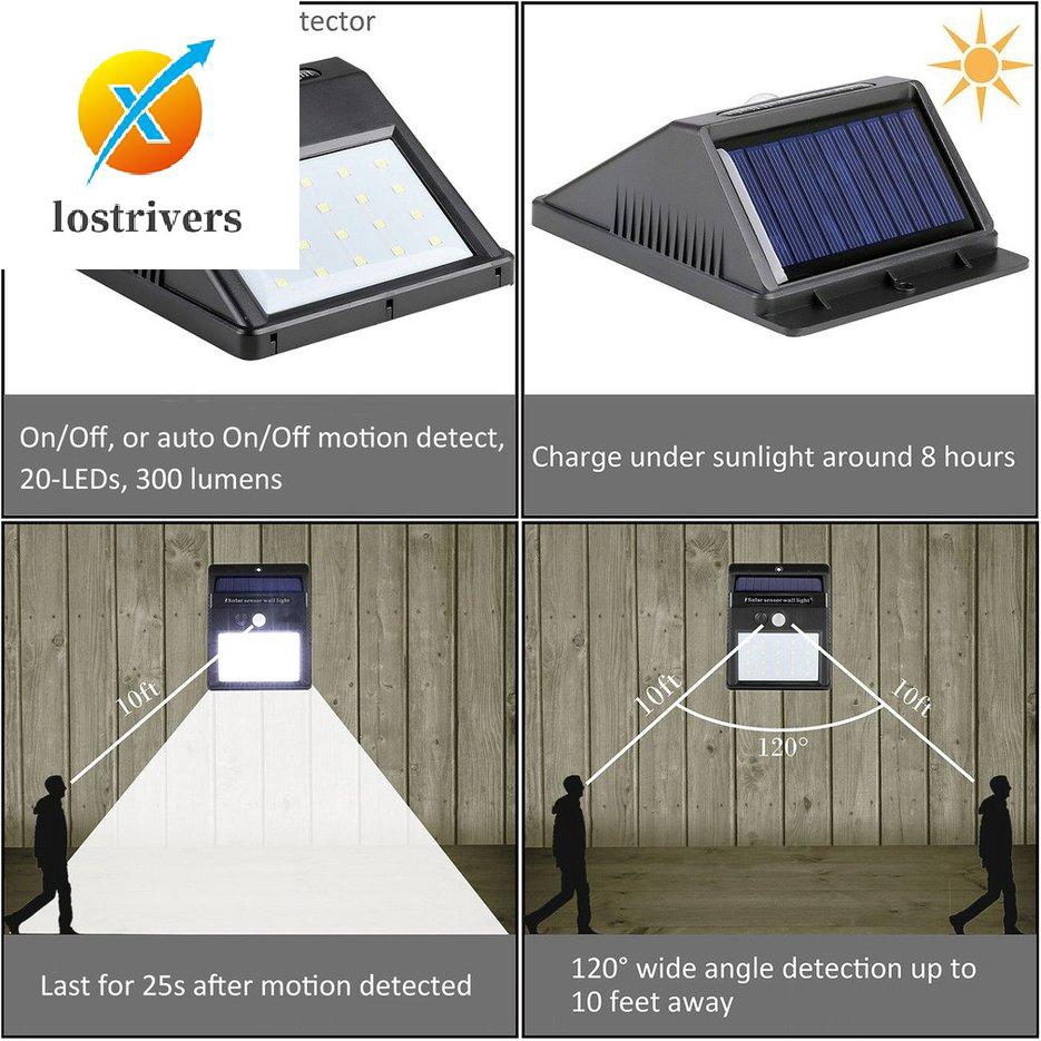 6PK Solar Powered Garden Fence Light Bright White LED Outdoor Lighting Door Wall