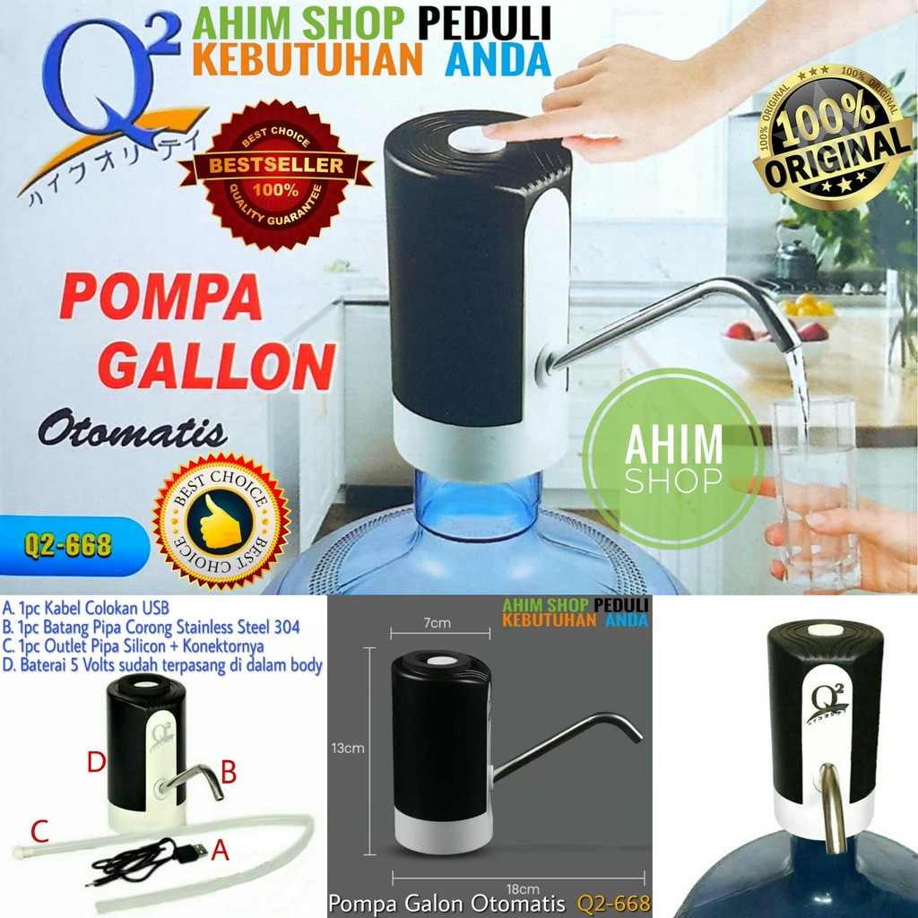 Pompa Air Galon Otomatis Usb Charge Pompa Galon Elektrik Listrik Electric Q2 668 Q2 668 Ahim Shop Shopee Indonesia