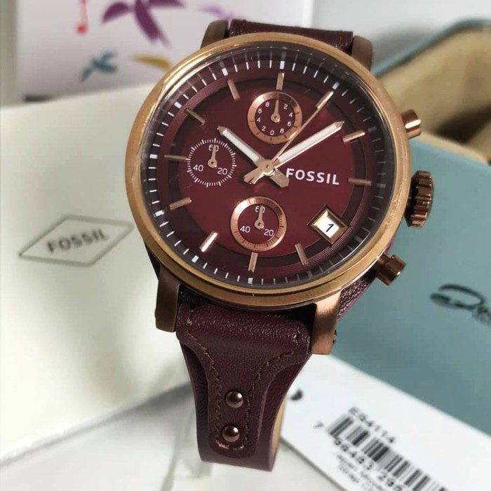 ORIGINAL ! Jam Tangan Wanita Fossil ES4114 Boyfriend Sport Chronograph Free Box Garansi 1th