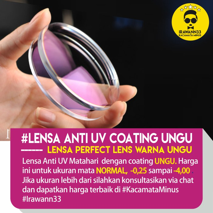 LENSA KACAMATA MINUS ANTI UV ~ Lensa PERFECT LENS coating UNGU untuk Mata  NORMAL 3269c79380