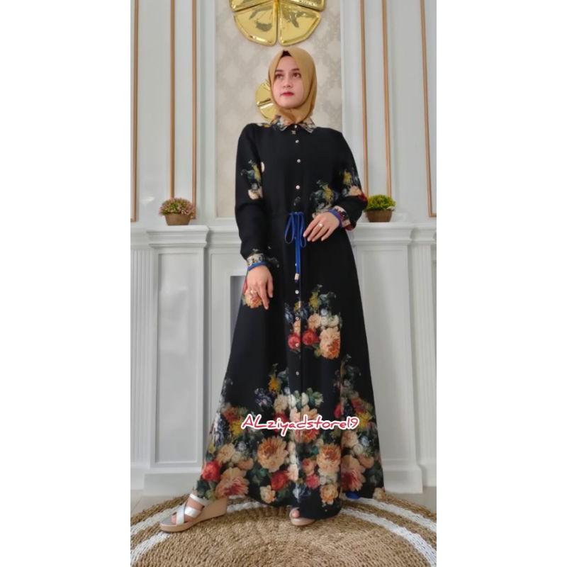 As19 B8522 Abaya Hikmat Gamis Syari Fashion Muslim Premium Shopee Indonesia