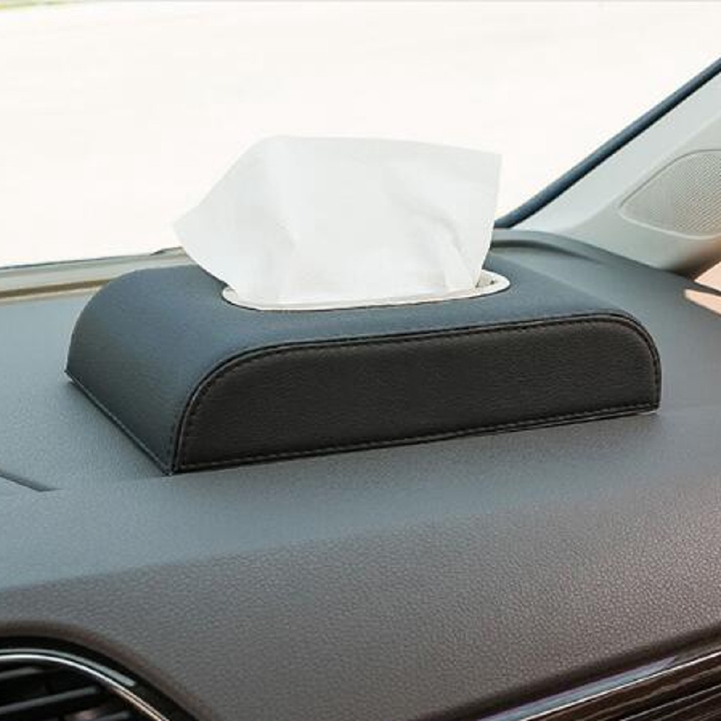 Black PU Leather Tissue Box Napkin Car Home Office Paper Holder Case Cover