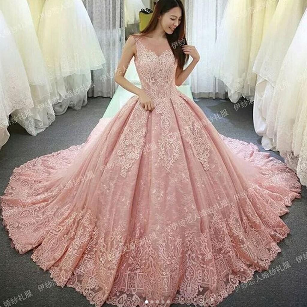 Gaun Pengantin Kebang Warna Pink Wedding Gown Bahan Brokat Baju
