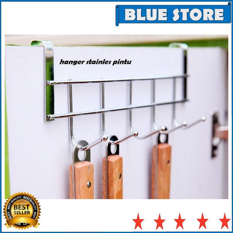hanger stainless door hook gantungan baju lap alat dapur tanpa paku | Shopee Indonesia