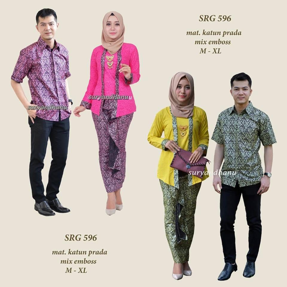 SRG 704 Sarimbit Couple batik setelan kebaya kutu baru rok lilit muslim  modern wanita pria kekinian  b37f5979e9