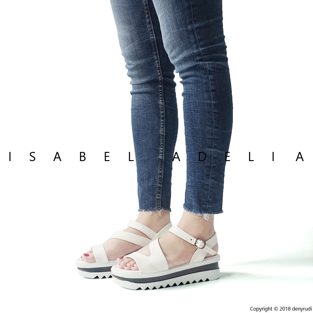 Isabel MORGAN Sepatu Sandal Wanita Wedges Hitam Krem  fe473e4c52