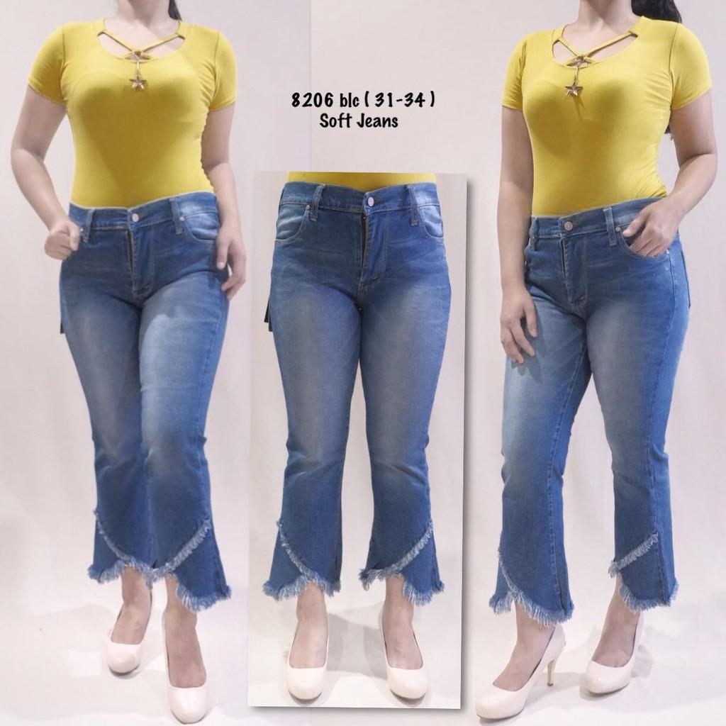 Celana Jeans Cutbray Bawah Rumbai Sobek Ripped Destroy Rawis Claw Big Size Megan Bigsize Jumbo