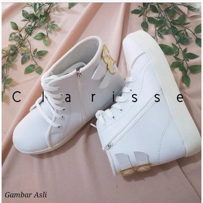 Clarisse BOOTS GESPER 2 Sepatu Wanita Hak Dalam 3cm Kets Sport White Putih