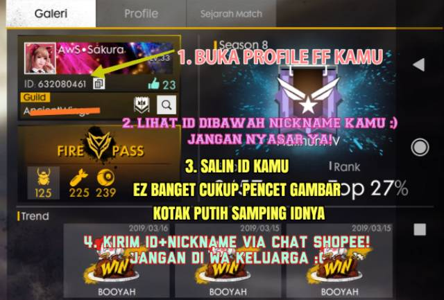 Promo Diamond Free Fire Garena Via Id Shopee Indonesia