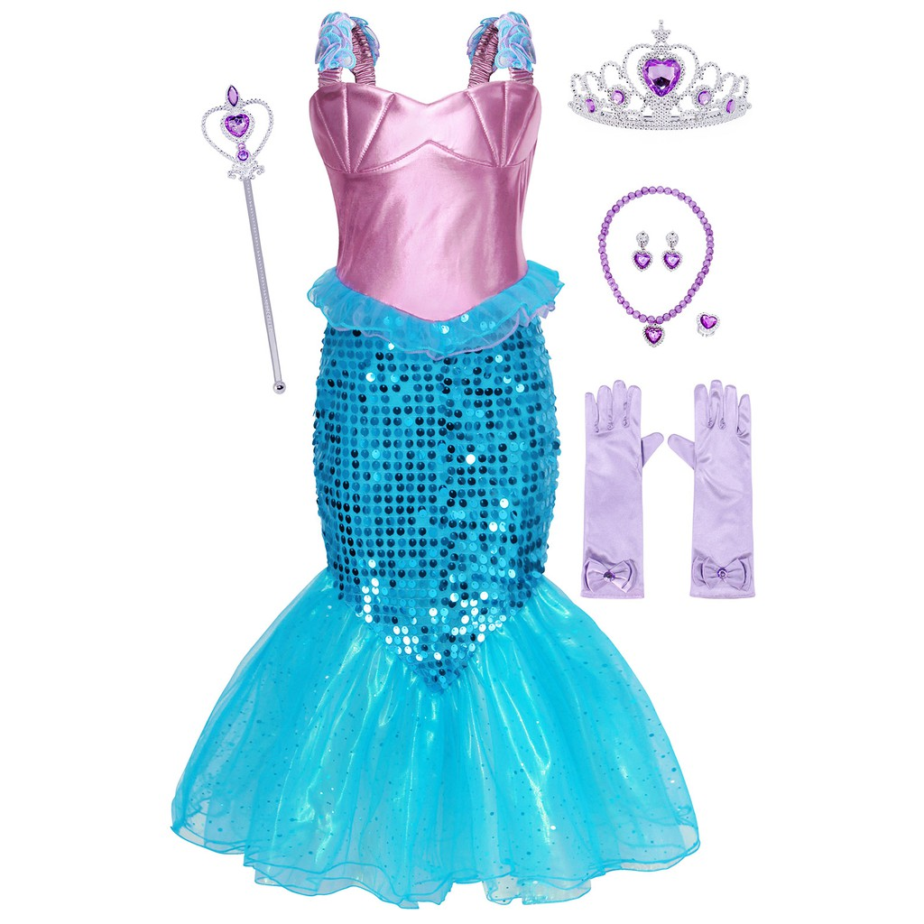 Girls Mermaid Princess Dress Kids Ariel Sequin Costume Birthday Fancy Party  Dress Up Christmas Cosplay Clothes..