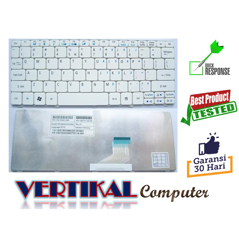 Keyboard Original Acer Aspire One 522 521h 522h 532h 533h D255 Happy Happy2 Nav50 D270 D257 Ao532 532 Putih D720 D260 2 Shopee Indonesia