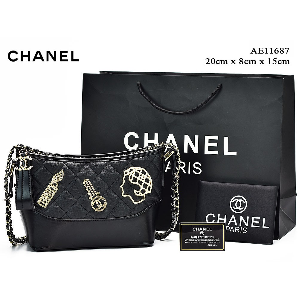 37f2129641a0aa TAS BRANDED IMPORT MURAH - Tas Chanel Boy So Black Medium Quilted Hitam  Semprem AH8811 | Shopee Indonesia