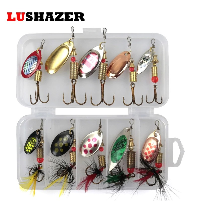 Fishing Metal Spoon Lure Treble Hook Spinner Baits CrankBait Fishing Tackles Box