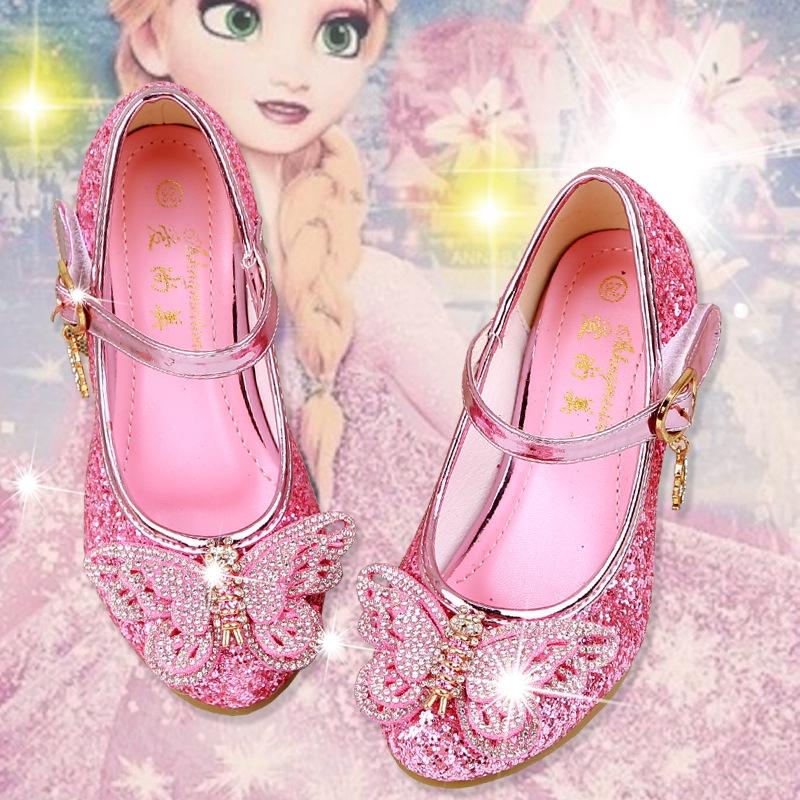 Sepatu Anak Perempuan Kupu Kupu Princess Berlian Party Beku Sepatu Hak Tinggi Slip Flat Shoes Shopee Indonesia