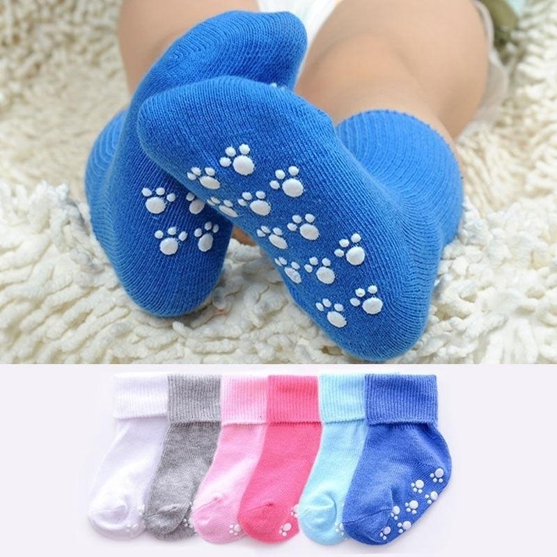 Candy Color Cotton Kids Socks Anti Slipper Socks Baby Girls Boys Soft Socks