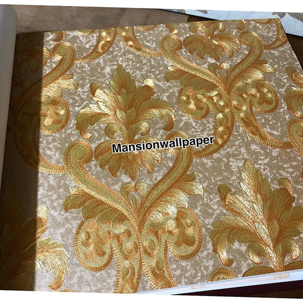 Wallpaper Dinding Klasik Mewah Gold Metalik Terbaik