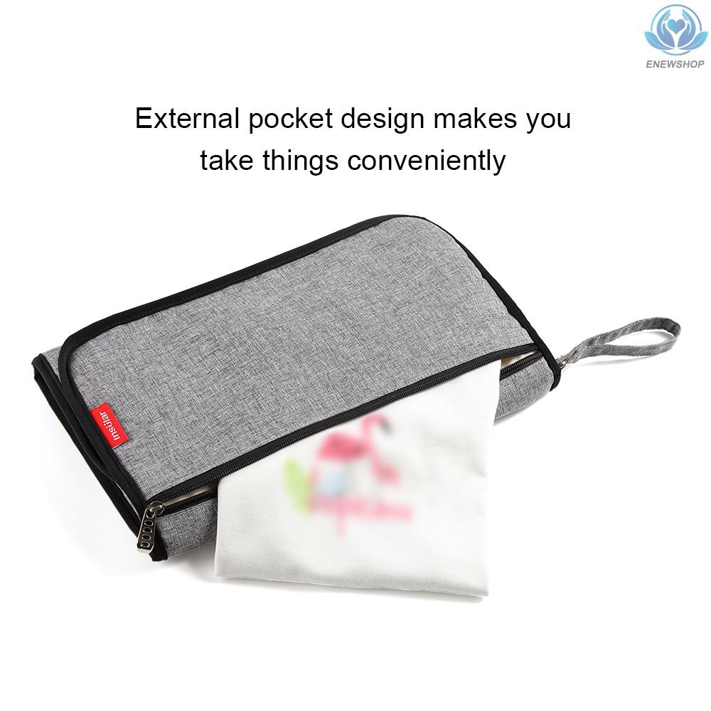 Decdeal Portable Changing Mat Foldable Waterproof Baby Diaper Changing Pad with Head Cushion Multiple Pockets for Travel Home insular
