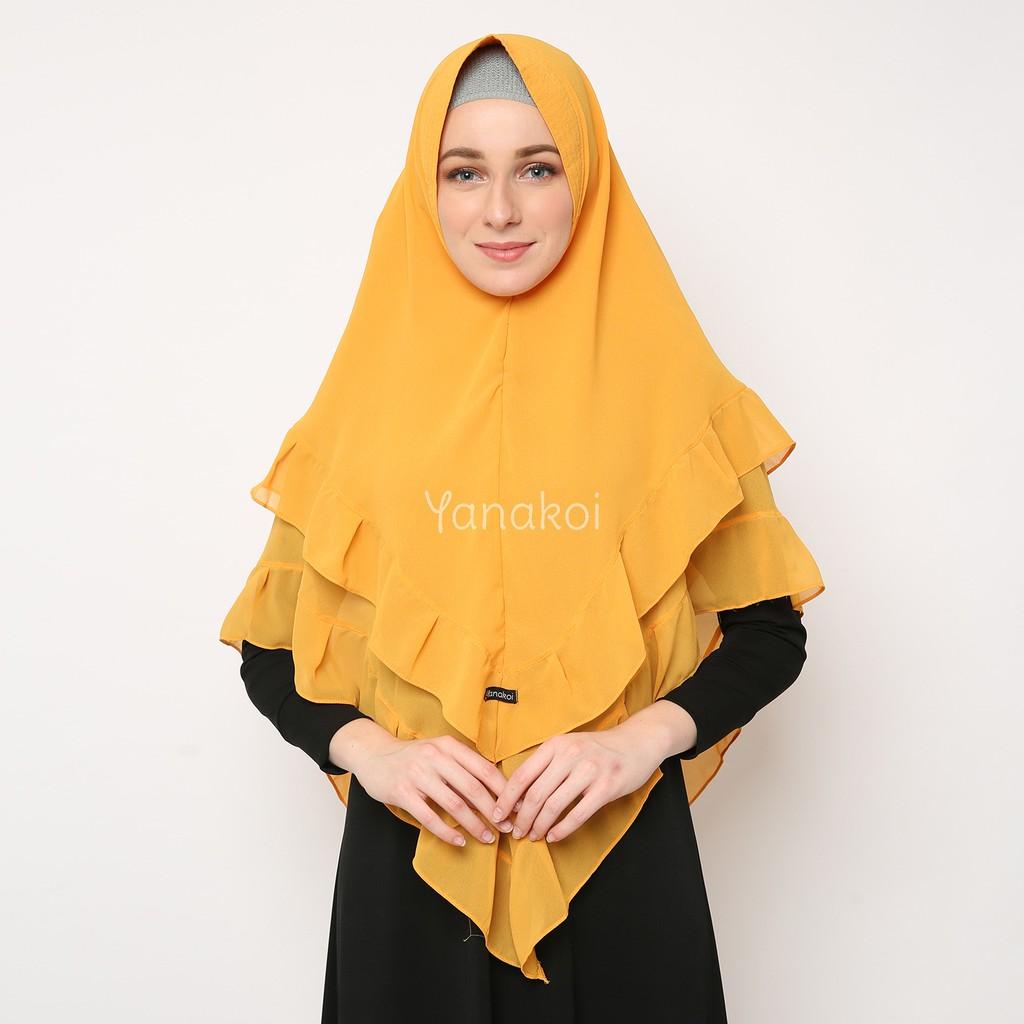Yanakoi Hijab Jilbab Khimar Zanetta Warna Kuning Kunyit Shopee Indonesia