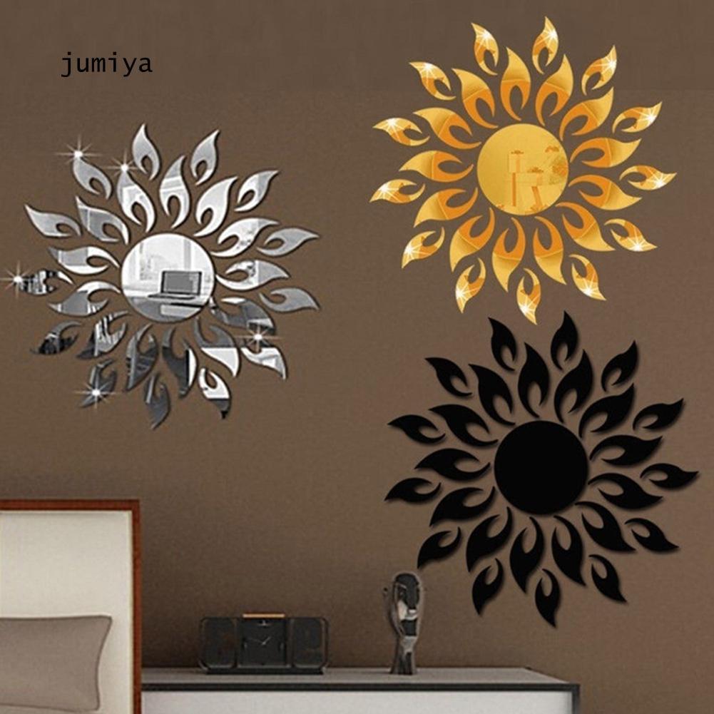 Stiker Dinding Motif Bunga Matahari 3d Efek Cermin Untuk Dekorasi Ruang Tamu Shopee Indonesia