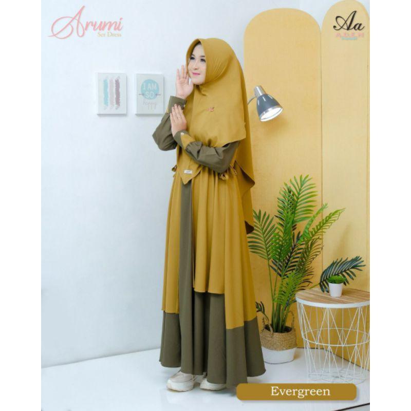 gamis wanita dress set arumi aden hijab