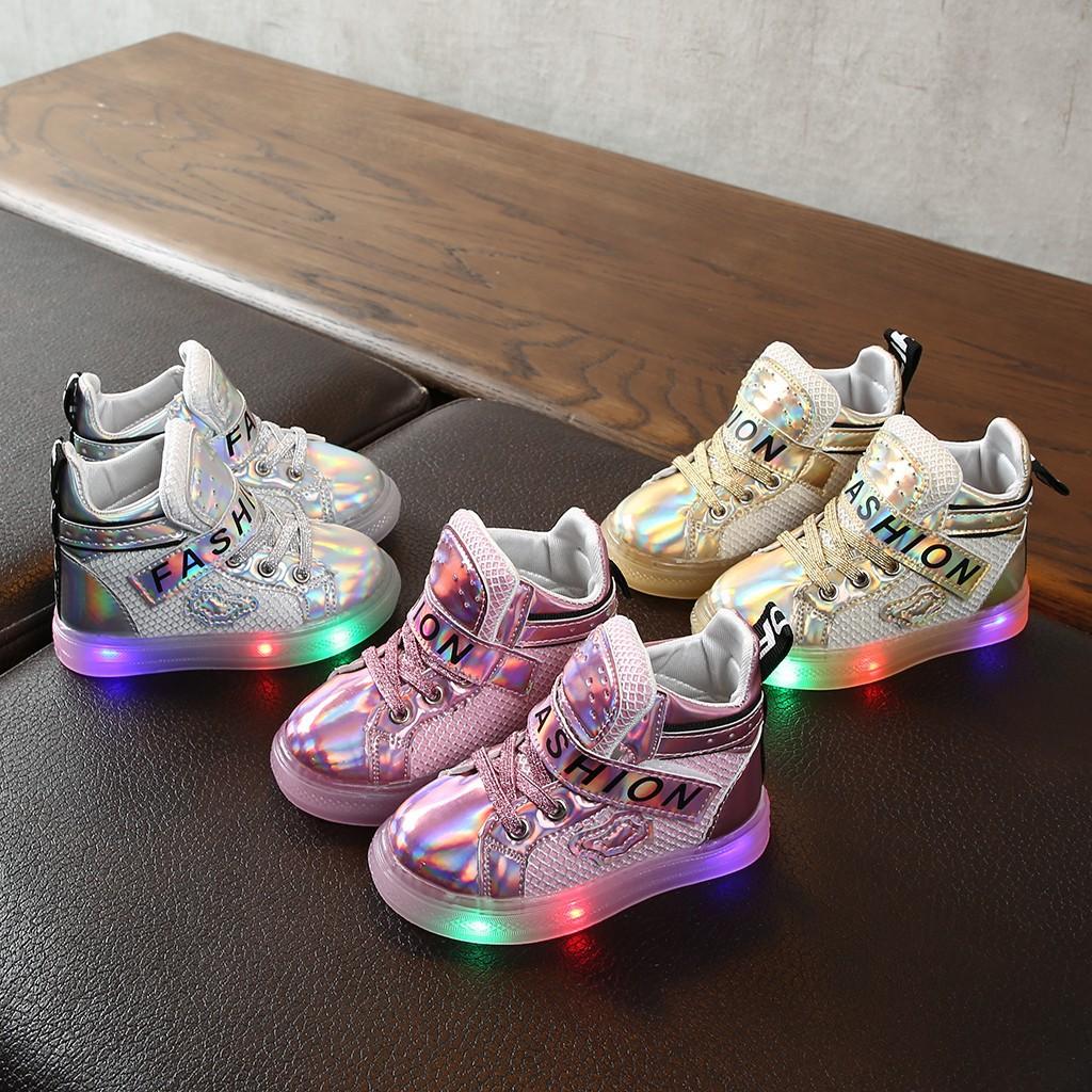 Infant Kid Baby Girls Boys Bling Led Luminous Sport Run Sneakers Casual Shoes
