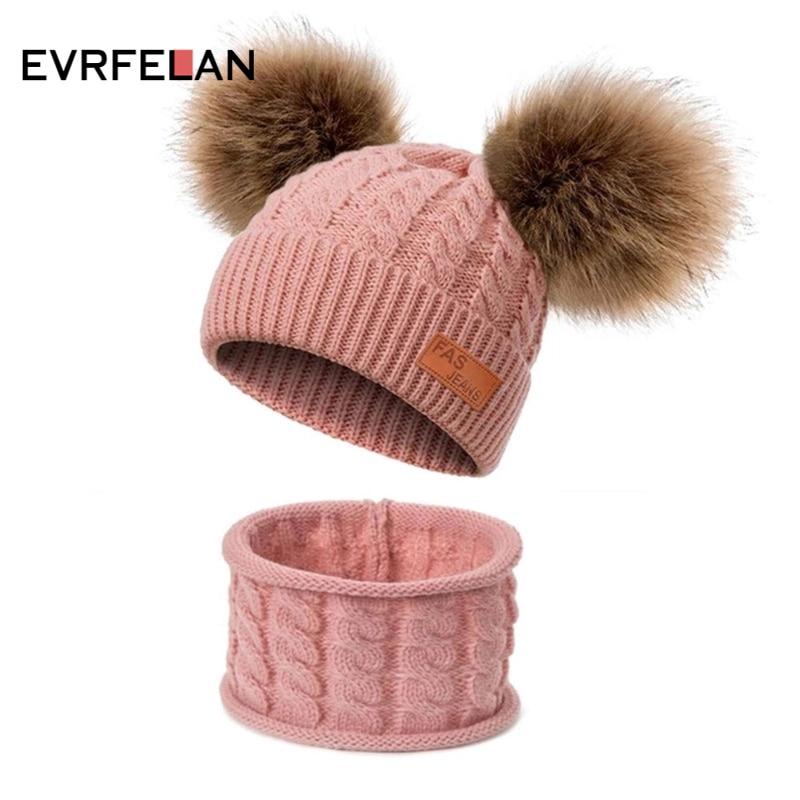 Double Ball Kids Toddler Winter Warm Beanie Hat Cap Knit Crochet Fur Pom Ski Cap