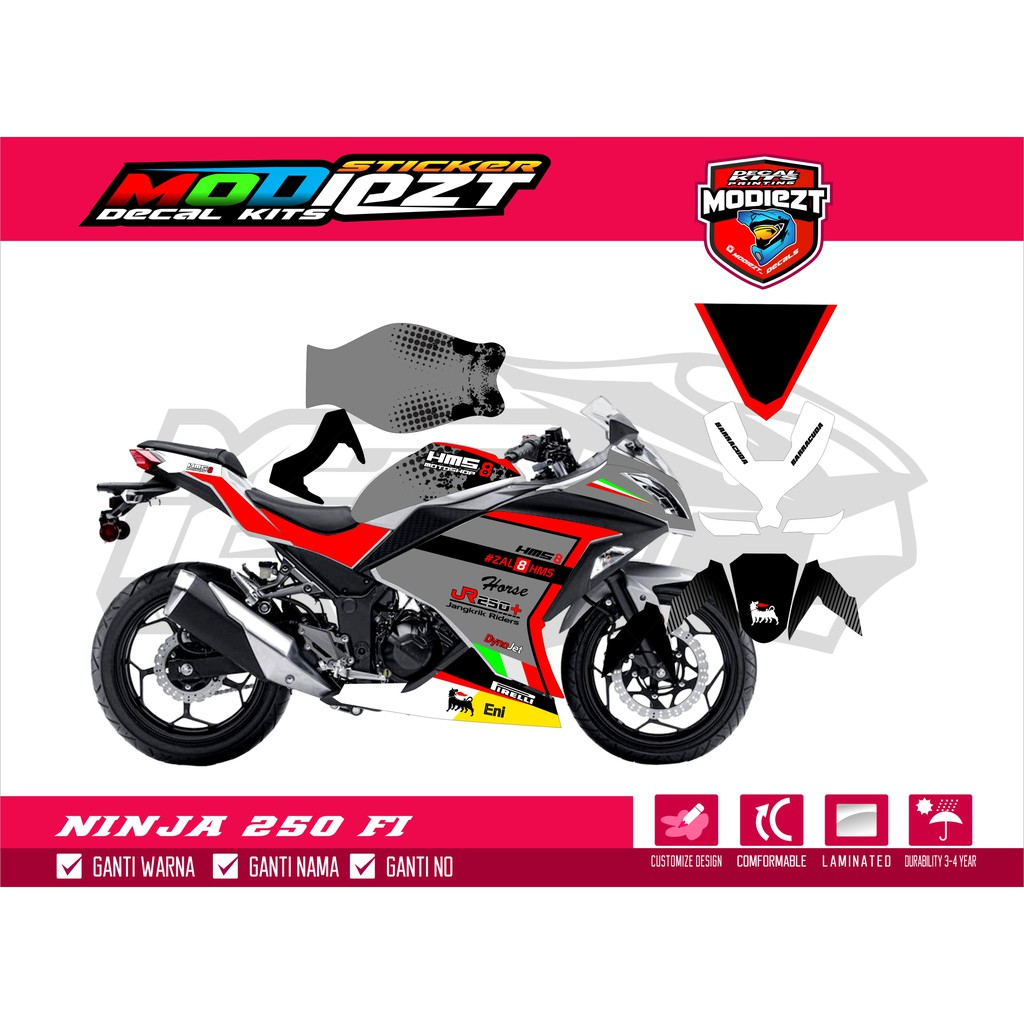 Stiker decal striping cutting ninja 250 fi free stiker shopee indonesia