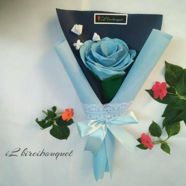 Ready Single Rose Flanel Buket Mawar Biru 1 Tangkai Bunga Wisuda Shopee Indonesia