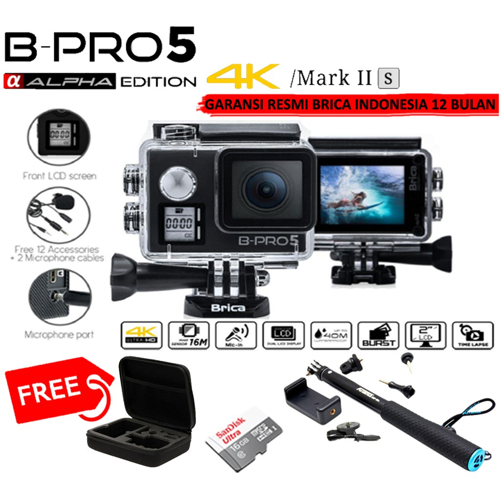 BRICA Alpha Edition Mark IIS AE2S 4KS + micro 16gb + smp-09 tongsis + medium bag + battre+charger | Shopee Indonesia
