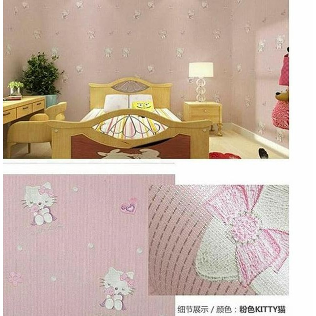 Ready / Hello kitty minimalis pink 45 cm x 10 mtr || Wallpaper dinding .