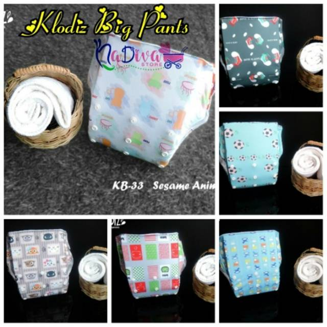 POKADO POPOK KAIN CUCI ULANG VELCROW CLOTH DIAPERS MOTIF ANIMALS. CLODI KLODIZ BIG PANTS jumbo
