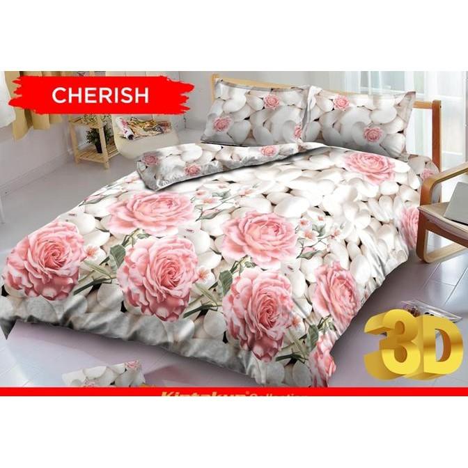 Exclusive Kintakun Cherish No.1 King 180 Sprei Seprai Bunga Mawar Pink Rose Batu Murah