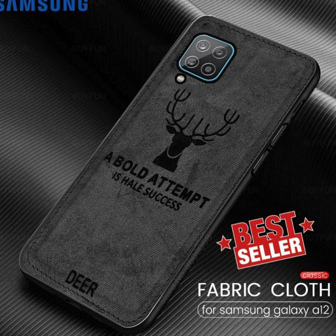 Case Samsung A12 Cloth Leather Deer Case Premium Softcase Casing Chl-2776