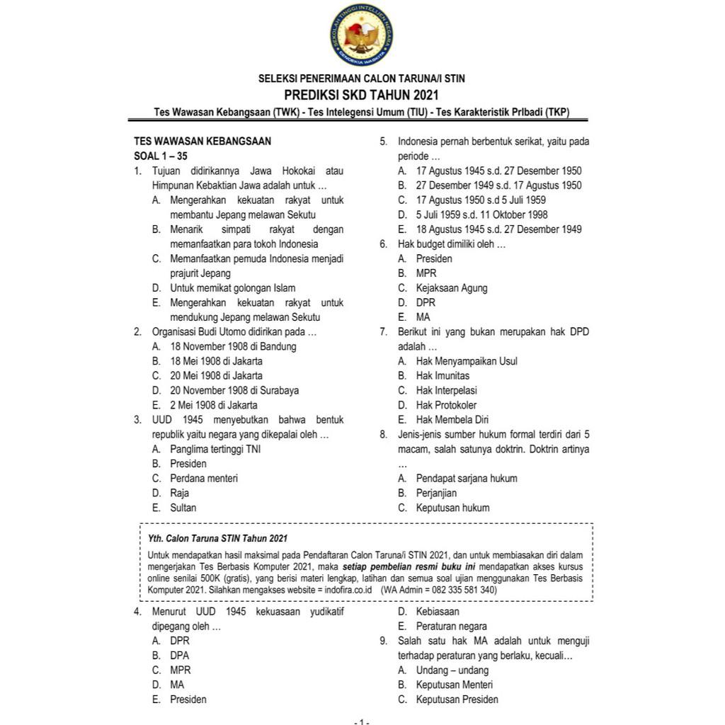 Contoh Soal Cpns 2021 Dan Kunci Jawaban Pdf Hukum Rajin Sekolah